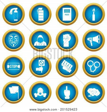 Protest icons blue circle set isolated on white for digital marketing