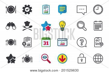 Plate dish with forks and knifes icons. Chief hat sign. Crosswise cutlery symbol. Dining etiquette. Chat, Report and Calendar signs. Stars, Statistics and Download icons. Question, Clock and Globe