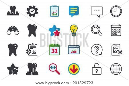 Dental care icons. Caries tooth sign. Tooth endosseous implant symbol. Parodontosis gingivitis sign. Chat, Report and Calendar signs. Stars, Statistics and Download icons. Question, Clock and Globe