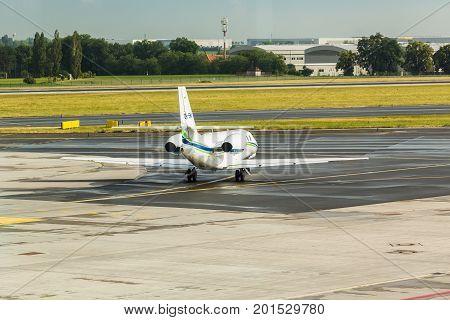 PRAGUE, CZECH REPUBLIC - JUNE 16, 2017: Cessna 680 Citation Sovereign OK-EMA Is waiting.