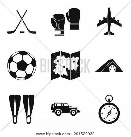 Tourist transport icons set. Simple set of 9 tourist transport vector icons for web isolated on white background