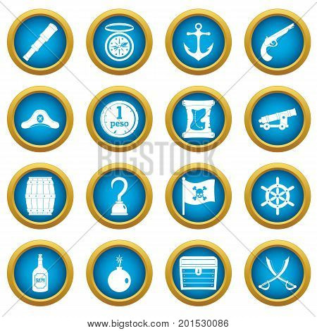 Pirate icons blue circle set isolated on white for digital marketing