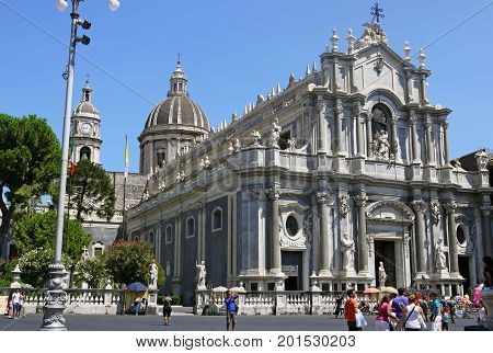 CATANIA - ITALY - JULY 6, 2014: Beautiful view of Catania Cathedral.