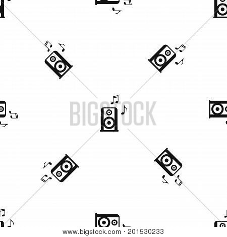Portable music speacker pattern repeat seamless in black color for any design. Vector geometric illustration