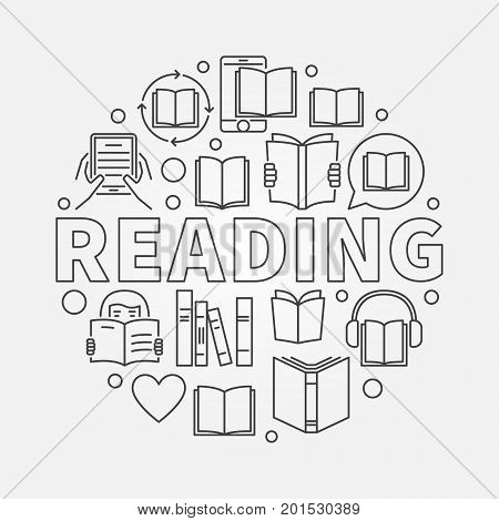 Reading round line illustration. Vector read books concept sign made with word READING and book icons