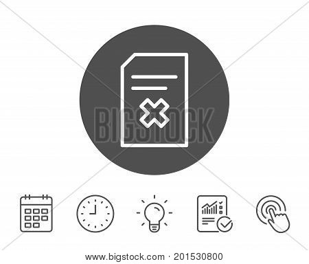 Remove Document line icon. Delete Information File sign. Paper page concept symbol. Report, Clock and Calendar line signs. Light bulb and Click icons. Editable stroke. Vector