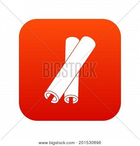 Cinnamon sticks icon digital red for any design isolated on white vector illustration