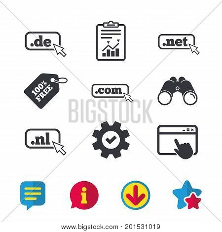 Top-level internet domain icons. De, Com, Net and Nl symbols with cursor pointer. Unique national DNS names. Browser window, Report and Service signs. Binoculars, Information and Download icons