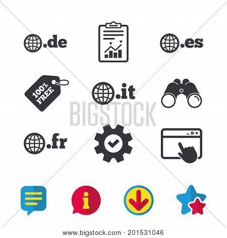 Top-level internet domain icons. De, It, Es and Fr symbols with globe. Unique national DNS names. Browser window, Report and Service signs. Binoculars, Information and Download icons. Stars and Chat