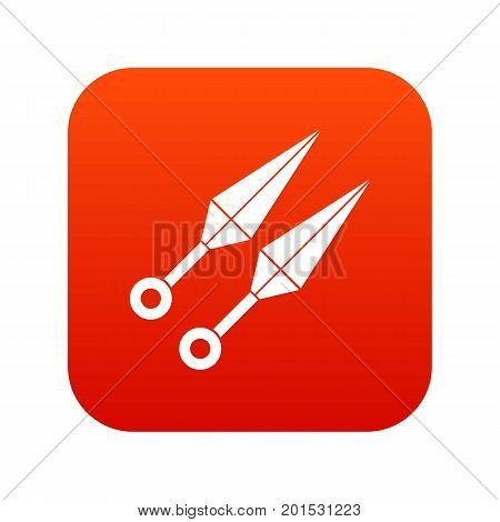 Ninja weapon kunai, throwing knives icon digital red for any design isolated on white vector illustration
