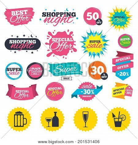 Sale shopping banners. Alcoholic drinks icons. Champagne sparkling wine and beer symbols. Wine glass and cocktail signs. Web badges, splash and stickers. Best offer. Vector