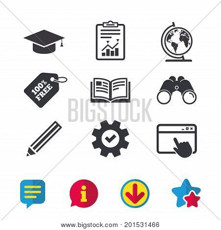 Pencil and open book icons. Graduation cap and geography globe symbols. Education learn signs. Browser window, Report and Service signs. Binoculars, Information and Download icons. Stars and Chat
