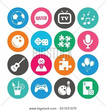 Set of Games, Entertainment and Services icons. Football, Bowling and Puzzle signs. Casino, Carnival and Music symbols. Colored circle buttons with flat signs. Vector