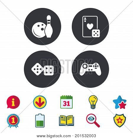 Bowling and Casino icons. Video game joystick and playing card with dice symbols. Entertainment signs. Calendar, Information and Download signs. Stars, Award and Book icons. Vector
