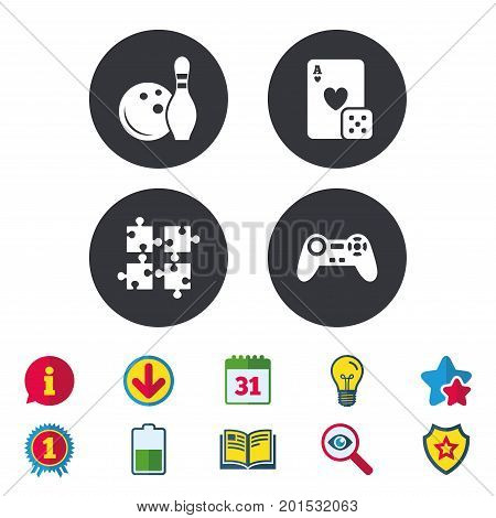 Bowling and Casino icons. Video game joystick and playing card with puzzles pieces symbols. Entertainment signs. Calendar, Information and Download signs. Stars, Award and Book icons. Vector