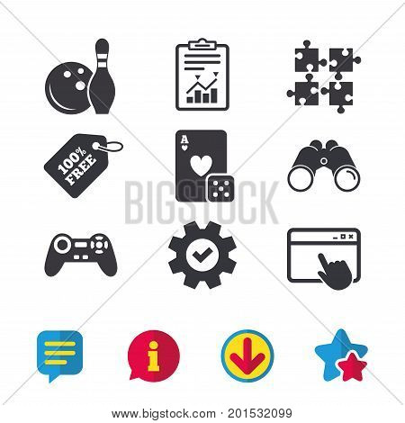 Bowling and Casino icons. Video game joystick and playing card with puzzles pieces symbols. Entertainment signs. Browser window, Report and Service signs. Binoculars, Information and Download icons