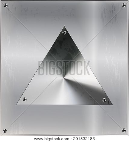 iron background, metal stylized square with geometric figure triangle and holes