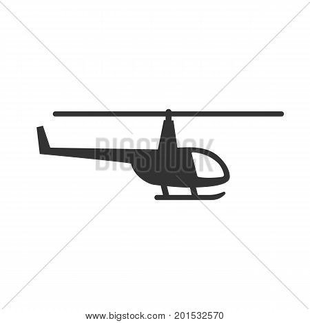 Black isolated silhouette of helicopter on white background. Icon of side view of helicopter
