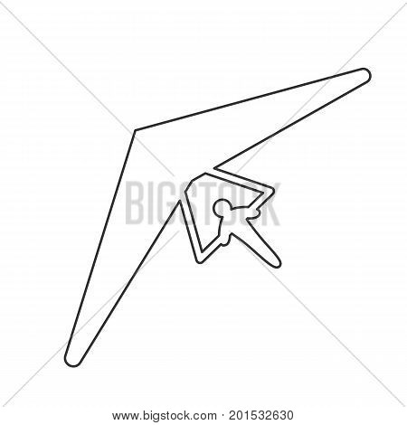 Black outline icon of hang glider on white background. Line Icon of above view of hang-glider