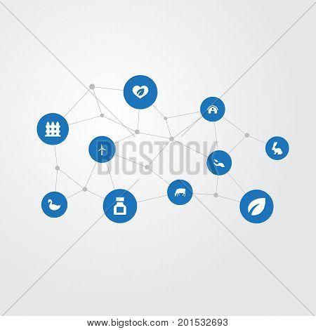 Elements Pesticide, Protect Nature, Wooden Barrier And Other Synonyms Fence, Power And Canard.  Vector Illustration Set Of Simple Harvest Icons.