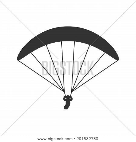 Black isolated silhouette of paraglider on white background. Icon of side view of parachute