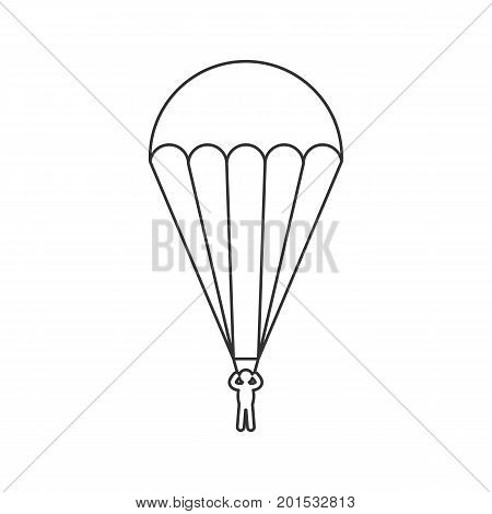 Black outline icon of parachute on white background. Line Icon of side view of parachutist