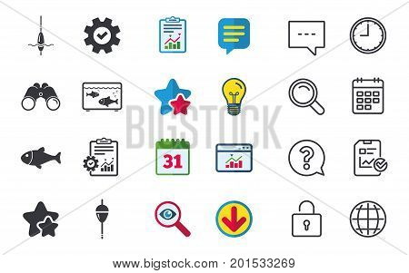 Fishing icons. Fish with fishermen hook sign. Float bobber symbol. Aquarium icon. Chat, Report and Calendar signs. Stars, Statistics and Download icons. Question, Clock and Globe. Vector