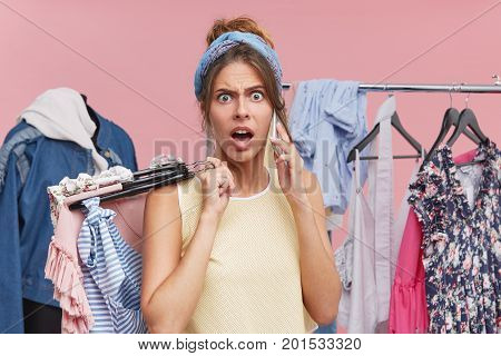 Outraged Female Quarreling With Her Husband Who Doesn`t Want To Give Her Money For New Clothes, Stan