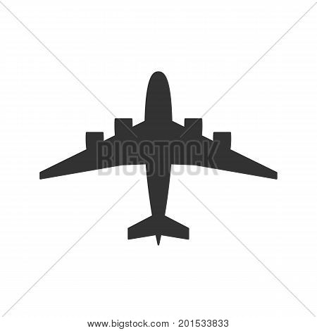 Black isolated silhouette of airplane on white background. View from above of aeroplane