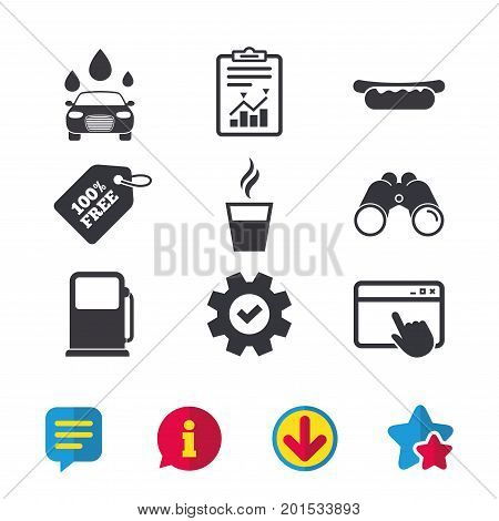 Petrol or Gas station services icons. Automated car wash signs. Hotdog sandwich and hot coffee cup symbols. Browser window, Report and Service signs. Binoculars, Information and Download icons