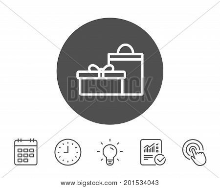 Gift box with bag line icon. Present or Sale sign. Birthday Shopping symbol. Package in Gift Wrap. Report, Clock and Calendar line signs. Light bulb and Click icons. Editable stroke. Vector