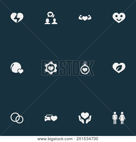 Elements Beloveds, Broken Soul, Eco And Other Synonyms Lovers, Song And Happy.  Vector Illustration Set Of Simple Feelings Icons.