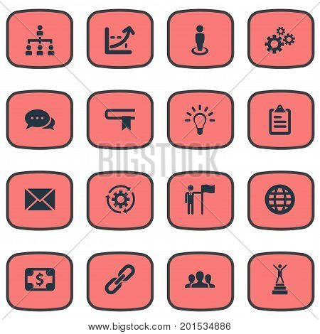 Elements Correspondence, Process, Currency And Other Synonyms Envelope, Business And Guidebook.  Vector Illustration Set Of Simple Strategy Icons.