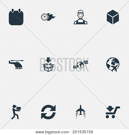 Elements Courier, Shipping Vehicle, Time In Fire And Other Synonyms Arrow, Box And Courier.  Vector Illustration Set Of Simple Logistics Icons.