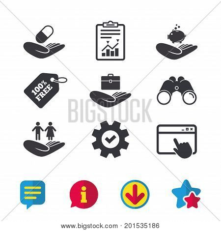 Helping hands icons. Protection and insurance symbols. Financial money savings, health medical insurance. Human couple life sign. Browser window, Report and Service signs. Vector