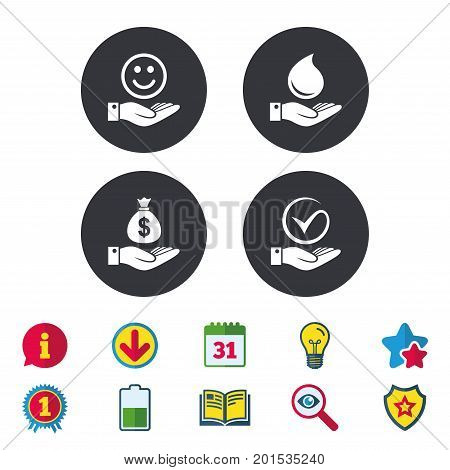 Smile and hand icon. Water drop and Tick or Check symbol. Palm holds Dollar money bag. Calendar, Information and Download signs. Stars, Award and Book icons. Light bulb, Shield and Search. Vector