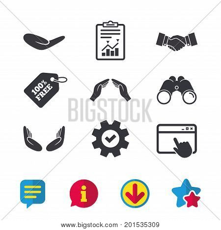 Hand icons. Handshake successful business symbol. Insurance protection sign. Human helping donation hand. Prayer meditation hands. Browser window, Report and Service signs. Vector