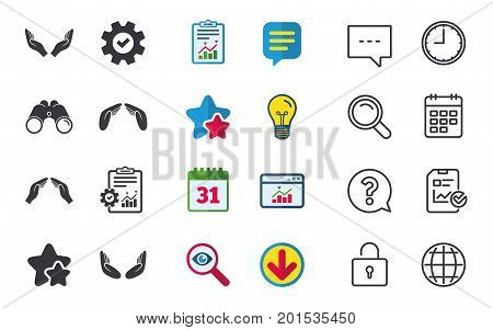 Hands icons. Insurance protection signs. Human helping donation hands. Prayer meditation hands sybmols. Chat, Report and Calendar signs. Stars, Statistics and Download icons. Question, Clock and Globe