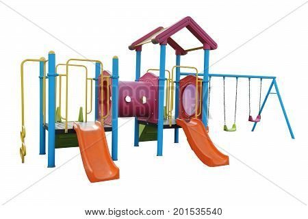 Playground for children in the yard isolated on white background