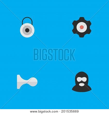 Elements Lock, Criminal, Cogwheel And Other Synonyms Gear, Hunting And Criminal.  Vector Illustration Set Of Simple Crime Icons.