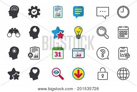 Head with brain icon. Male human think symbols. Blood drop donation sign. Love heart. Chat, Report and Calendar signs. Stars, Statistics and Download icons. Question, Clock and Globe. Vector