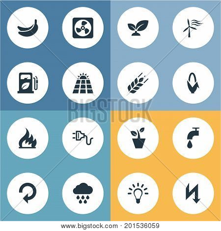 Elements Weed, Thunderbolt, Fire And Other Synonyms Grain, Photocell And Reuse.  Vector Illustration Set Of Simple Power Icons.