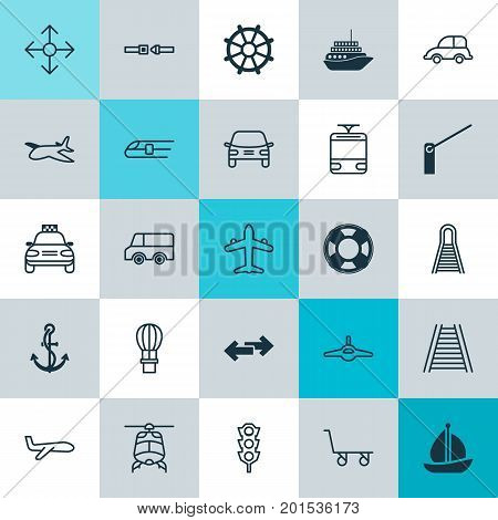 Delivery Icons Set. Collection Of Metro, Roadblock, Lifebuoy And Other Elements
