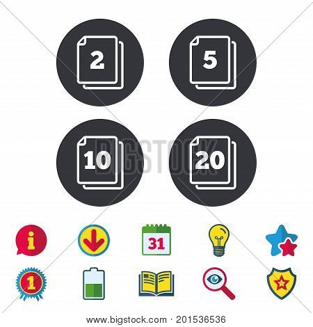 In pack sheets icons. Quantity per package symbols. 2, 5, 10 and 20 paper units in the pack signs. Calendar, Information and Download signs. Stars, Award and Book icons. Light bulb, Shield and Search