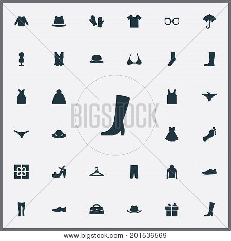 Elements Footwear, Headpiece, Panties And Other Synonyms Top, Barefoot And Woman.  Vector Illustration Set Of Simple Garments Icons.