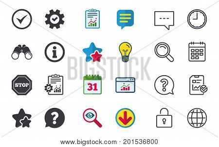 Information icons. Stop prohibition and question FAQ mark speech bubble signs. Approved check mark symbol. Chat, Report and Calendar signs. Stars, Statistics and Download icons. Vector