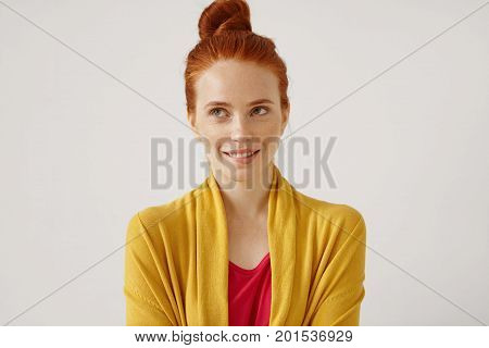 Daydreaming, Ideas, Thoughts And Anticipation Concept. Picture Of Cute Teenage Girl Wearing Her Ging