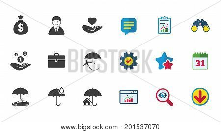 Insurance icons. Life, Real estate and House signs. Saving money, vehicle and umbrella symbols. Calendar, Report and Download signs. Stars, Service and Search icons. Statistics, Binoculars and Chat