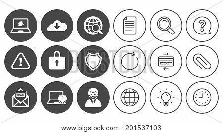 Internet privacy icons. Cyber crime signs. Virus, spam e-mail and anonymous user symbols. Document, Globe and Clock line signs. Lamp, Magnifier and Paper clip icons. Question, Credit card and Refresh