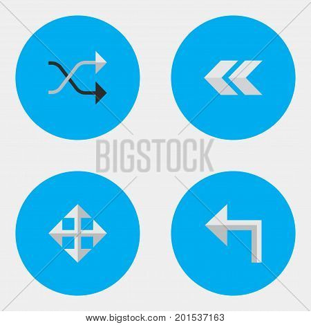 Elements Widen, Back, Chaotically And Other Synonyms Left, Backward And Enlarge.  Vector Illustration Set Of Simple Indicator Icons.